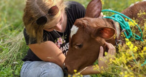 Elma and her best friend, rescued cow