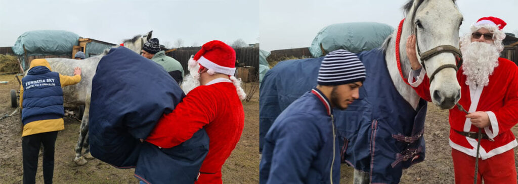 santa provides coat to the horse of an impoverished family.
