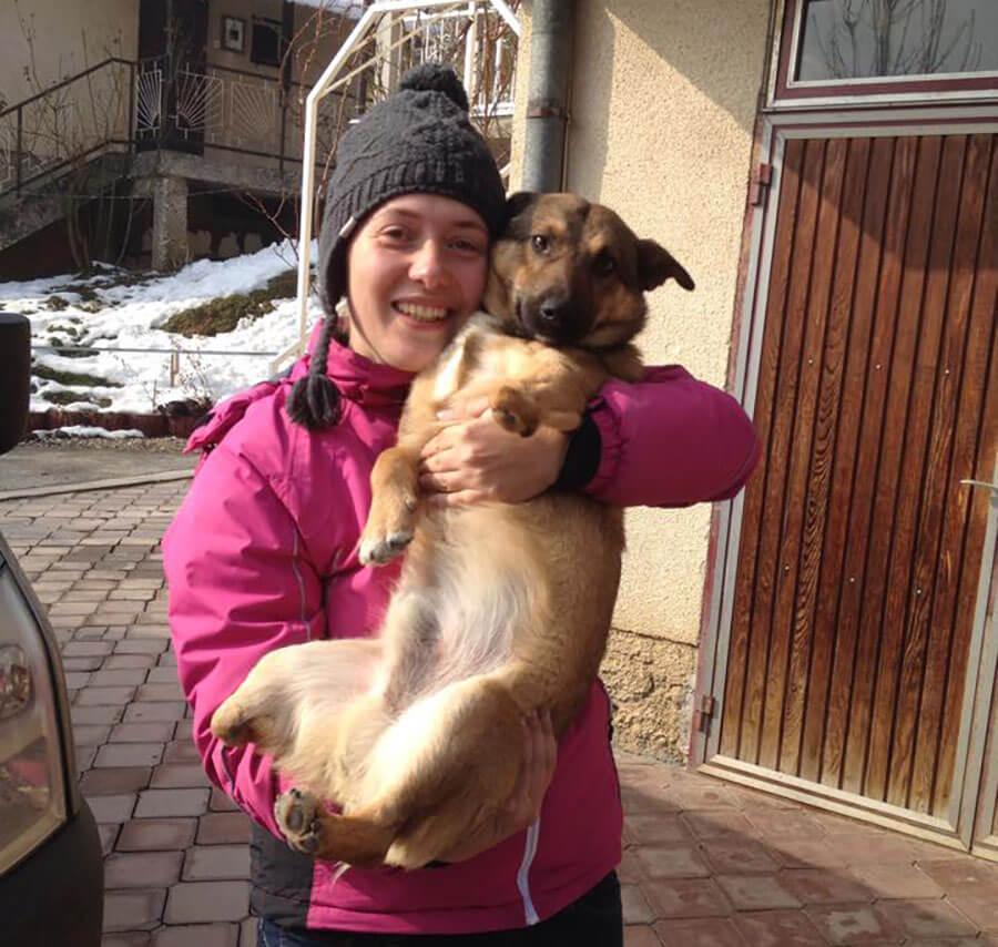 Naida Kaltak with rescued dog