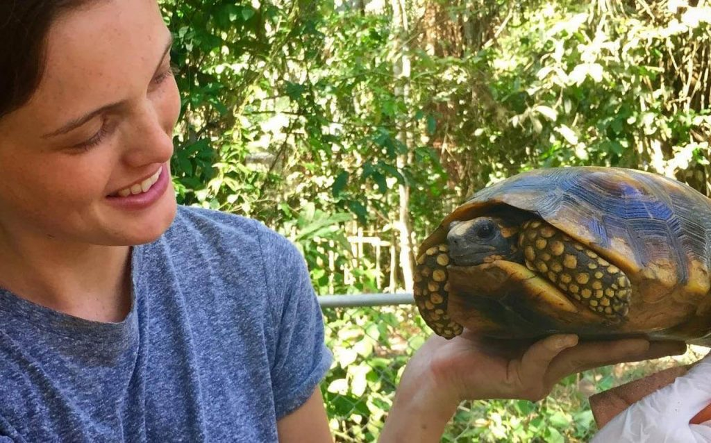 Rescuer with turtle