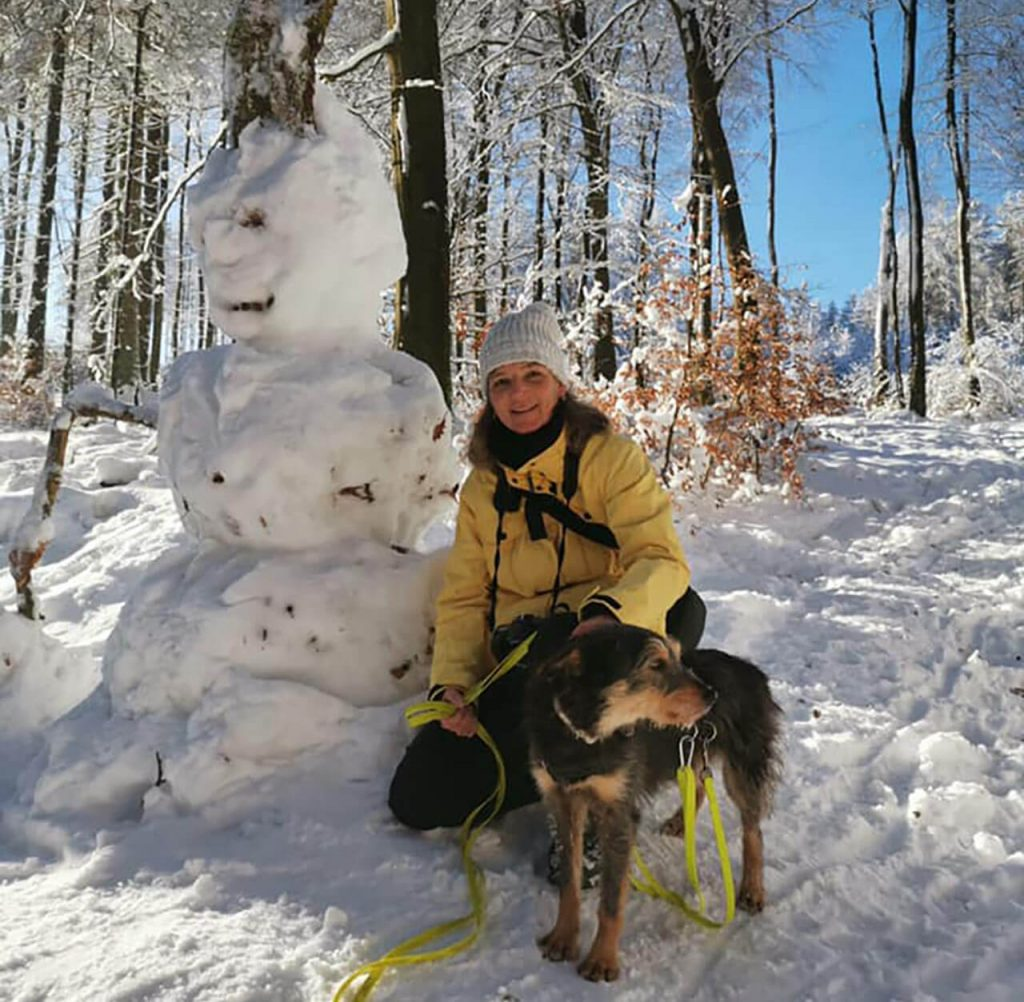 Romanian rescue dog now enjoy the snow activity with new family