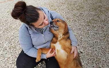 Edina with her rescue dog